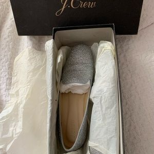 J CREW GLITTER SMOKING SLIPPERS LOAFERS SILVER 7.5